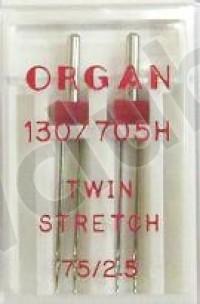 Иглы Organ  Две двойные иглы для шитья трикотажа № 75. Расстояние между иглами 2,5мм ИП Евдокимов И.А.