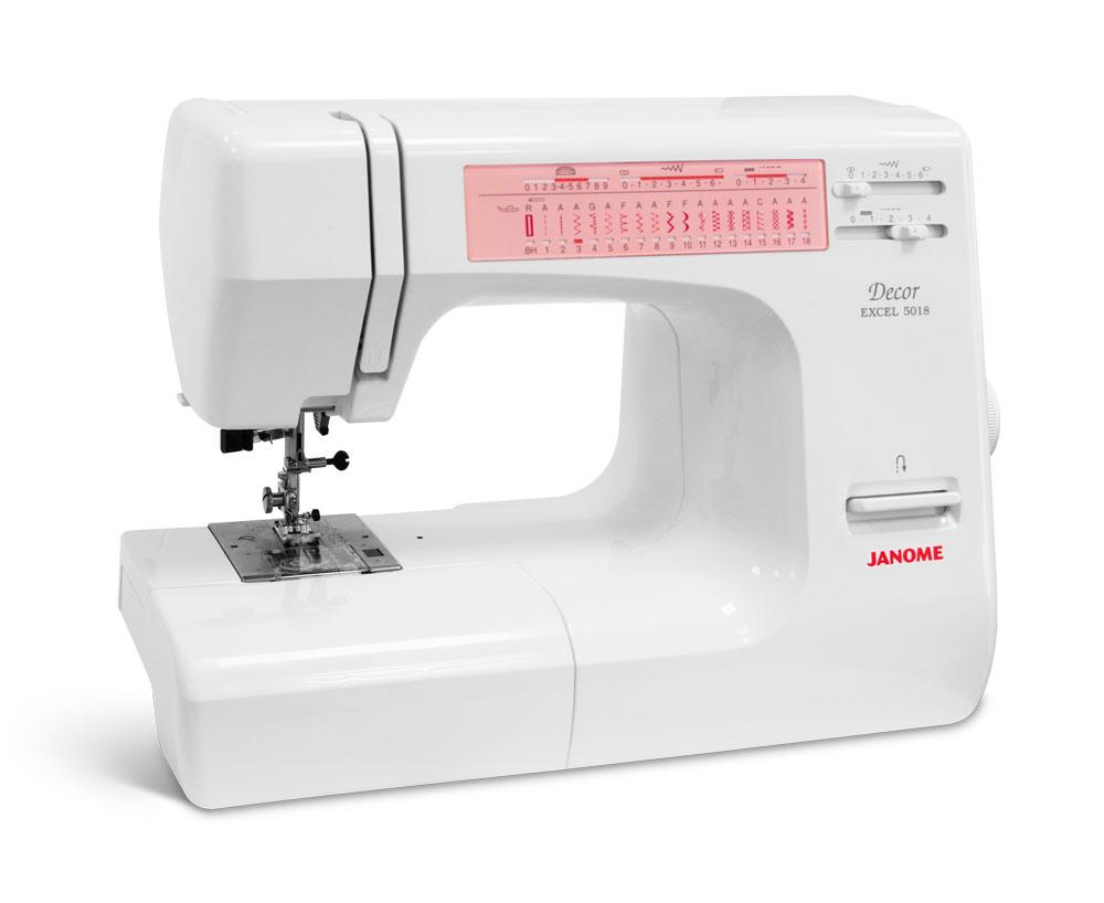 Швейные машины Janome Decor Excel 5018  Электромеханическая швейная машина Janome Decor Excel 5018предназначена для шитья одежды из различных типов тканиот шифона до кожи. Удобство эксплуатации обеспечивается свободным рукавом, плавным позицио ИП Евдокимов И.А.
