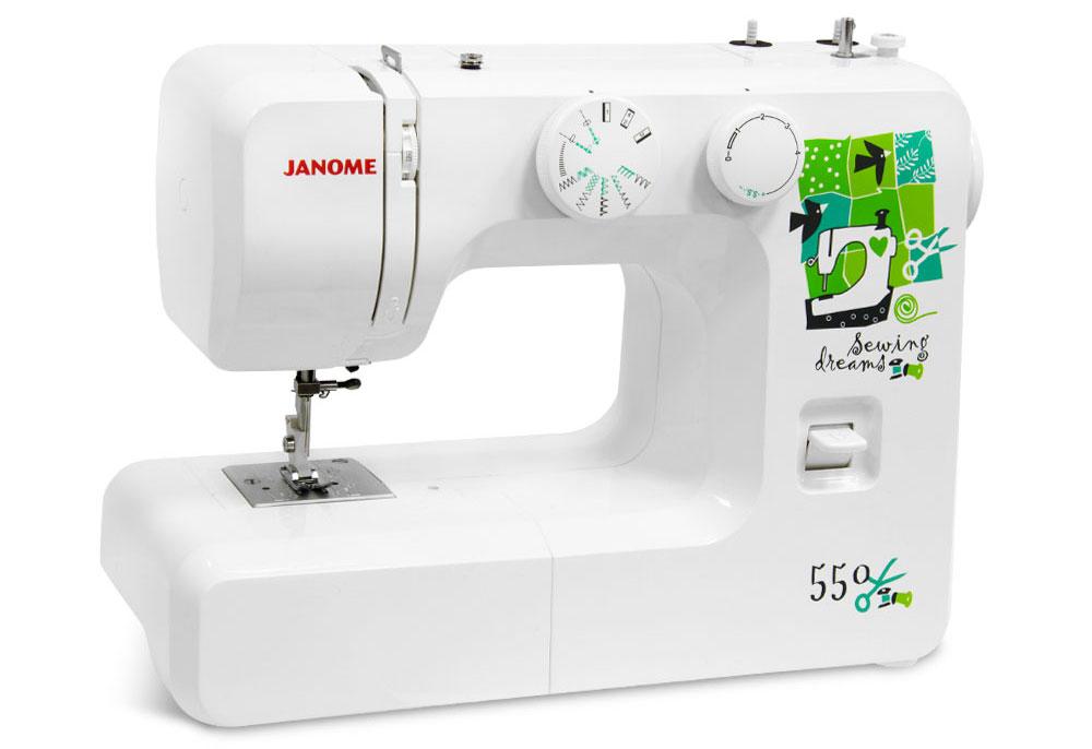 Швейные машины Janome 550  Швейная машина Janome 550- электромеханическая швейная машина с вертикальным челноком и 15-ю швейными операциями. Набор швейных функций включает в себя: рабочие (прямая и зиг-заг), краеобметочные и эластичные строчки. Такж ИП Евдокимов И.А.