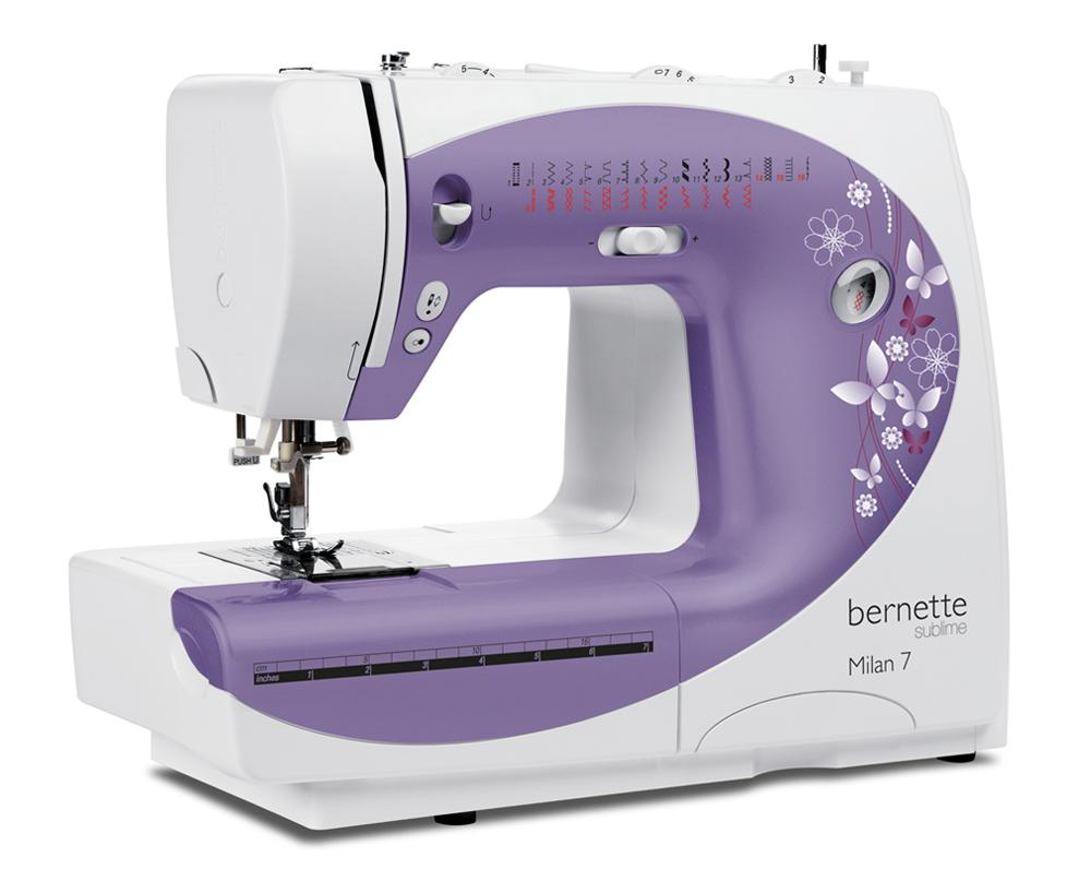 Швейные машины Bernina Milan 7  Электронная швейная машина Bernette Milan 7 оснащена большим выбором рабочих, декоративных, эластичных, квилтинговых строчек, а также функцией автоматического выметывания петель, эта машина позволяет профессионально воплоща ИП Евдокимов И.А.