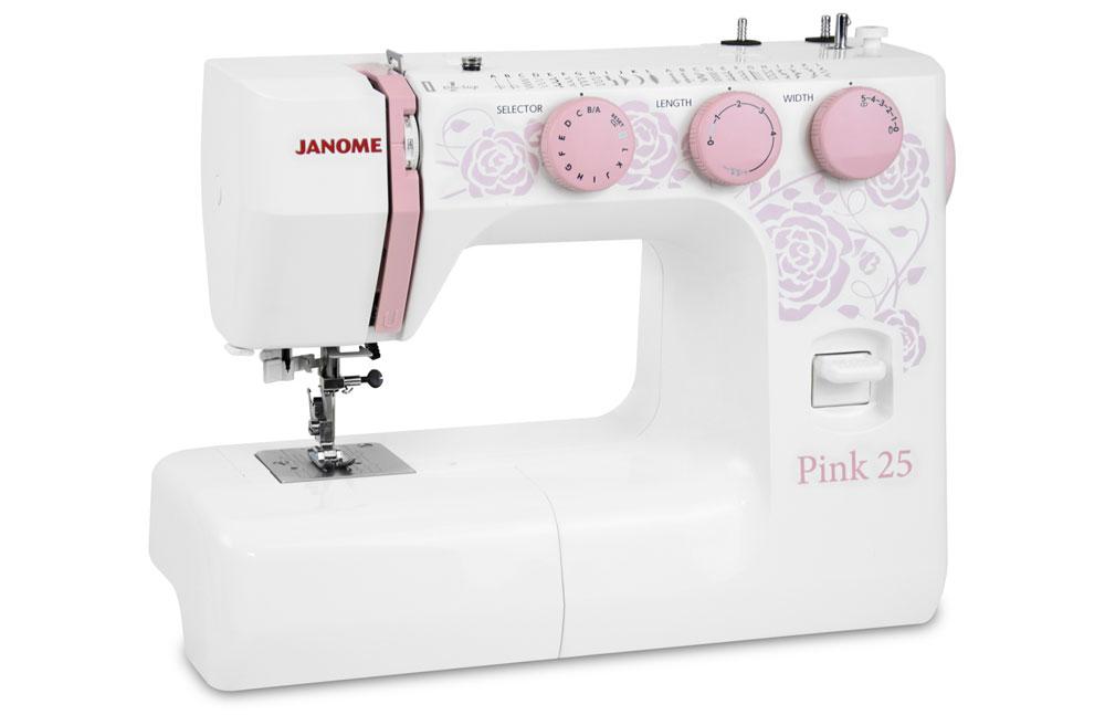 Швейные машины Janome Pink 25  Швейная машина Janome Pink 25 - электромеханическая швейная машина с вертикальным челноком и 25-ю швейными операциями. Удобный нитевдеватель, автоматическая петля и мощный мотор, позволят легко подготовить машину к шитью и в ИП Евдокимов И.А.