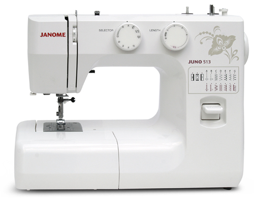 Швейные машины Janome Juno 523  Janome Juno 513– электромеханическая швейная машина для домашнего использования. Оснащена классическим вертикальным челноком, выполняет рабочие и декоративные строчки, имеет функцию реверса и встроенный нитевдеватель. ИП Евдокимов И.А.