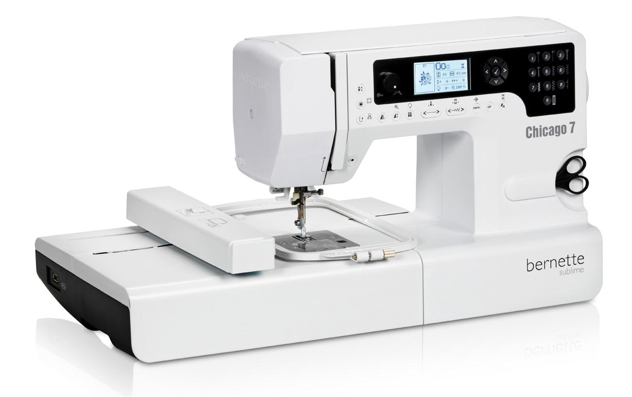 Вышивальные машины Bernina Chicago 7  Швейно-вышивальная машина Bernette Chicago 7 - швейный компьютер с горизонтальным челноком обладающий памятью, алфавитами и большим набором швейных операций. Функция вышивки реализована с помощью подключаемого вышивал ИП Евдокимов И.А.