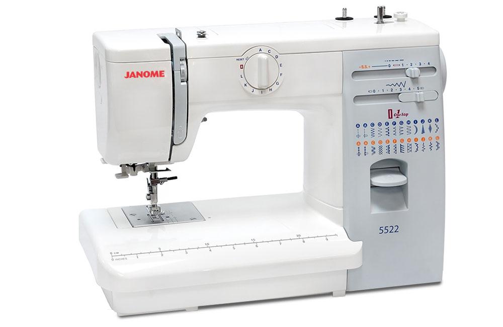 Швейные машины Janome Janome 5522  Janome 5522– электромеханическая швейная машина для домашнего использования. Оснащена классическим вертикальным челноком, выполняет рабочие и декоративные строчки. Плавная регулировка длины и ширины строчки, встрое ИП Евдокимов И.А.