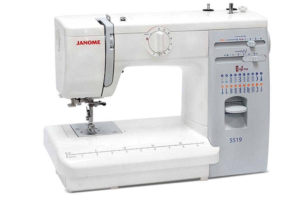 Швейные машины Janome Janome 5519  Janome 5519– электромеханическая швейная машина для домашнего использования. Оснащена классическим вертикальным челноком, выполняет рабочие и декоративные строчки. Плавная регулировка длины и ширины строчки, встрое ИП Евдокимов И.А.