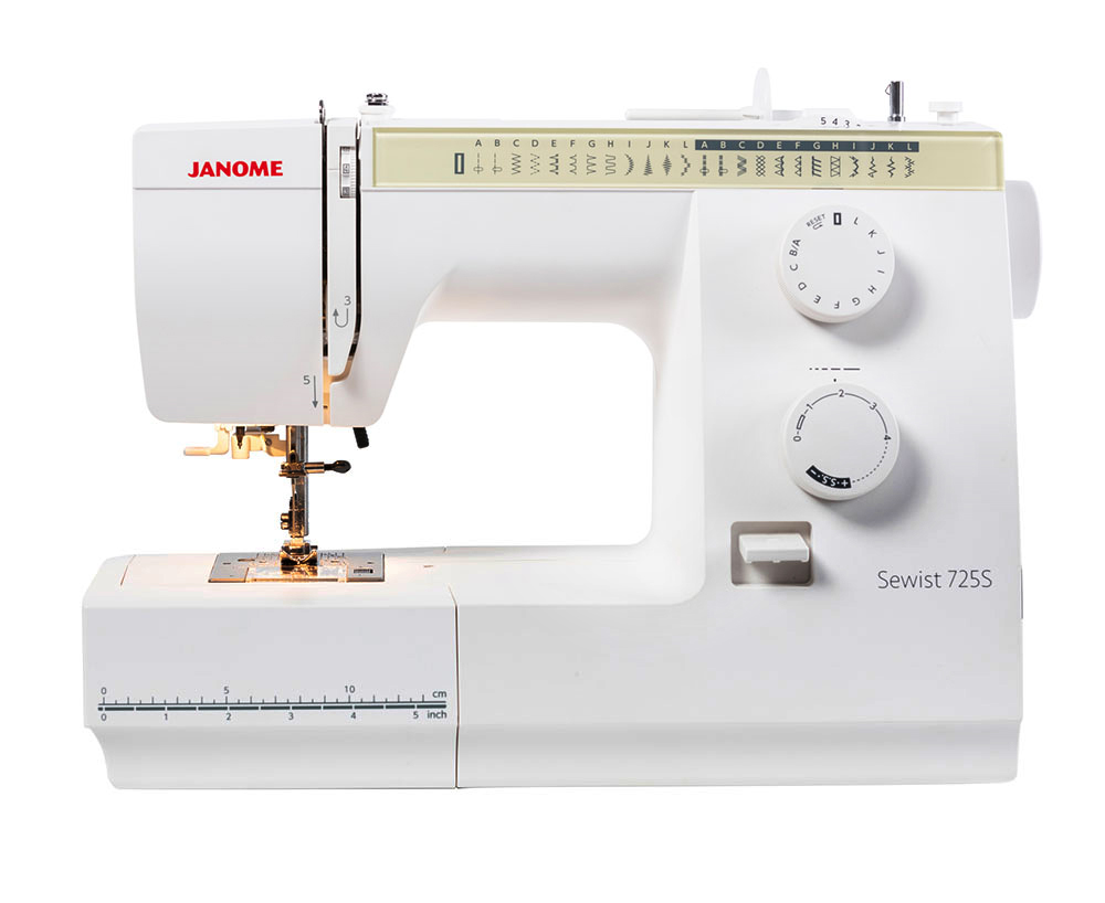 Швейные машины Janome Sewist 725 S  Janome Sewist 725 S- это простая в использовании, электромеханическая швейная машина с возможностью выполнения бельевой петли в автоматическом режиме.. В функционале этой машины - 23 швейных операций среди которых Мир Шитья магазин швейной техники и аксессуаров