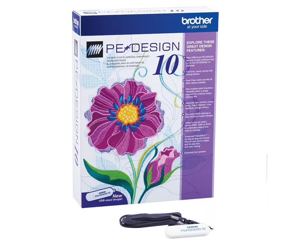 Программное обеспечение Brother PE-Design 10  Brother PE-Design 10 - редактор для обработки и создания вышивальных дизайнов для вышивальных машин. В версии PE-Design 10 усовершенствован функционал редактирования стежков. Программа имеет 130 встроенных шри ИП Евдокимов И.А.