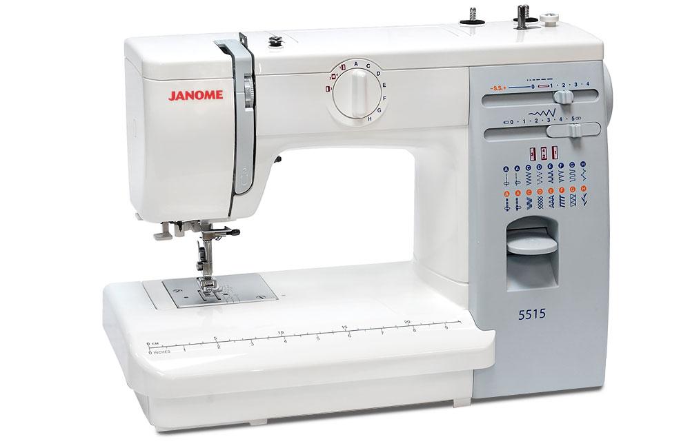 Швейные машины Janome Janome 5515  Janome 5515– электромеханическая швейная машина для домашнего использования. Оснащена классическим вертикальным челноком, выполняет рабочие и декоративные строчки. Плавная регулировка длины и ширины строчки, встрое ИП Евдокимов И.А.